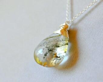 Phantom Quartz Necklace, Green Rutilated Rock Quartz Pendant, Earthy Jewelry, Mineral Specimen Necklace, Geology Botanical Sterling Silver