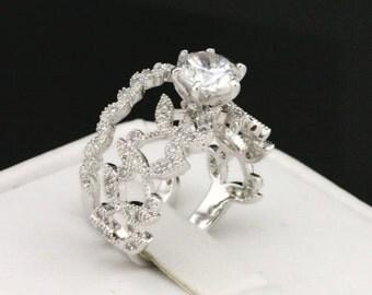 Vintage Ring/Floral Ring/Wedding Ring Set/CZ Engagement/Promise Ring/Bridal Sets