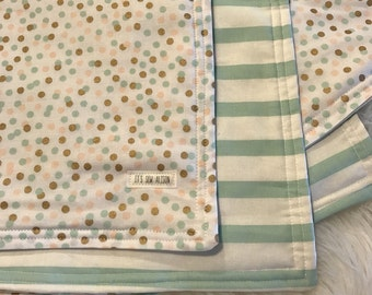 Baby blanket/ baby girl/ polka dots and stripes