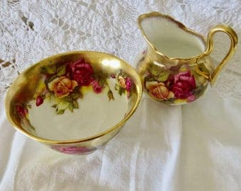 "Royal Chelsea Bone China Creamer and Sugar Set ""Golden Rose"" Pattern (see description)"