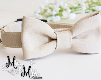 Dog BowTie Collar - Mr. & Mrs. LOVE - in romantic Ottoman color sand