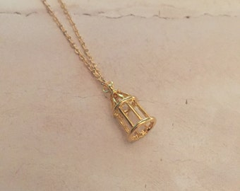 Mini Bird Cage Necklace   Bird Cage Charm, Gold Bird Cage, Mini Pendant, Handmade Necklace, Minimal Necklace, Delicate Necklace, Bridal Gift