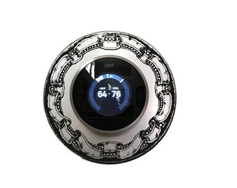 "Nest Thermostat 6"" silver wall plate with Antique style border and self adhesive back."