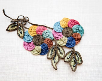 Unique!! Bright and beautiful, hand embroidered flower motif 1920s 30s