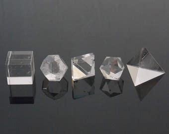 Crystal Geometry set, Crystal Platonic Solids, Healing Crystals, Aura cleanse, Crystals, 5 pc Crystal set, Reiki, Chakra