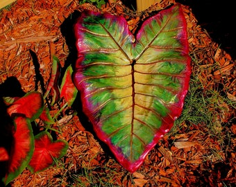 "Garden Art, Bird Feeder, ""Footed"". Elephant Ear ""Leaf casting"".  Bright colors of fushia, berry, greens, & more.  Garden Ornament, Hypertufa"