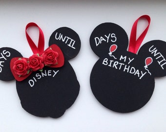 Disney Countdown Mickey Mouse Minnie Mouse - Blackboard - Special Occasion - Birthday - Wedding - Baby Countdown - Chalkboard Plaque