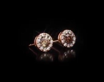 Bring on the Chocolate! Levian style chocolate and white diamond studs in rose gold! .53ctw.!!