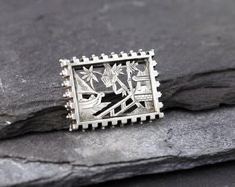 Antique Victorian Silver Aesthetic Period Oriental Scene brooch