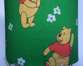 Winnie the Pooh, Pooh bear on green fabric, handmade lampshade. Child's bedroom, nursery, playroom. Ideal new home