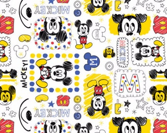 Disney Mickey Mouse Fabric in White Fabric From Camelot