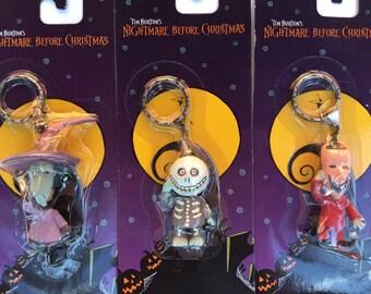 1993 Nightmare Before Christmas Lock, Shock, & Barrel Keychains