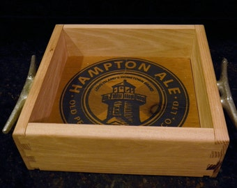 Hampton Ale Old Peconic Brewing Crate Tray - Cleat Handles - Wood - Holds 6 Pack - Shelter Island - Lighthouse - Beer - Hamptons - Outdoors