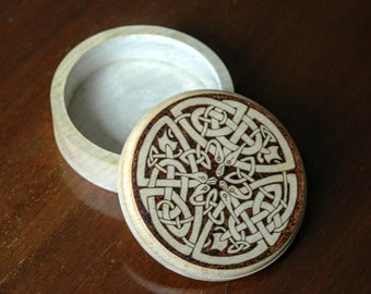 Hand pokered wooden box with Celtic snake design