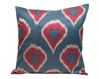 Blue Red Ikat Cushion Pillow Covers, 45 x 45 cm