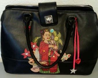 Frida Kahlo bag - hand or shoulder bag - embellished