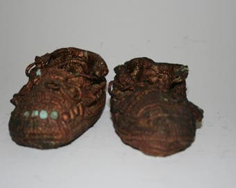 Vintage Bronzed Baby Shoes - Bronzed Baby Shoes - Bronzed Baby Booties - Pair