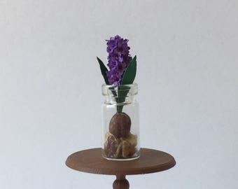 Dollhouse Miniature Hyacinth Bulb In Vase Lavender Artist Made