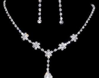 Fashion Women Silver Wedding Engagement Jewelry Rhinestone Necklace Earring Set