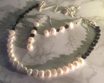 Pearl and spinel necklace and matching earrings