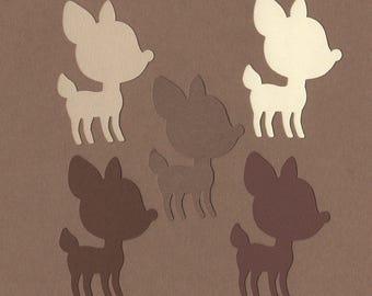 "25 - 2"" Fawn Die Cuts Paper Craft Embellishment Nostalgia colors Set 8000"