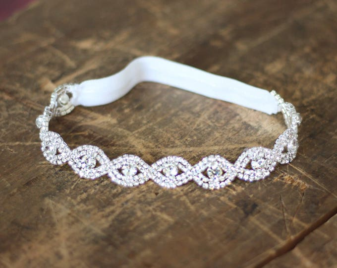 Crystal Wedding Garter NO SLIP grip vintage rhinestones, custom garter, simple garter, rhinestone garter