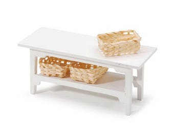 Miniature White Side Table with Baskets