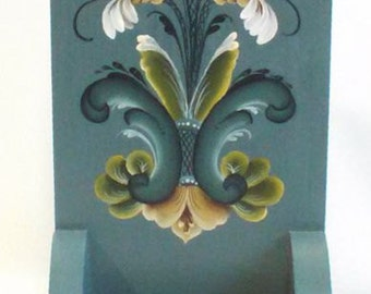 candle box, hand painted in rosemaling, medium blue