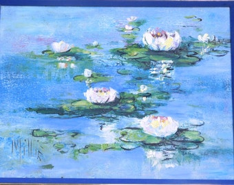 Waterlilies oil painting, thick impasto, signed Millie