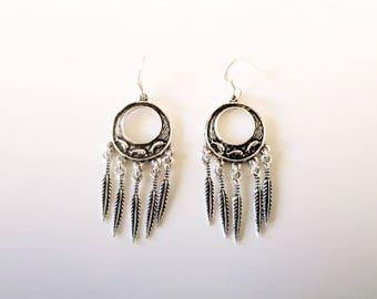 Dream catcher earrings in silver