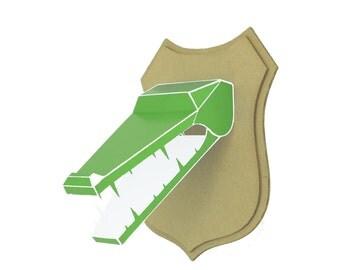 Trophy paper - crocodile head - Green