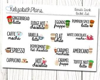 Barista Bucket List | Coffee, Tea, Drink, Planner Stickers