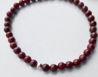 Small Garnet Beaded Bracelet with Silver Ball bead