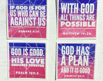 Color Blend Geometric line Bible verse cards - Set of 4