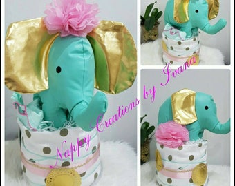 My first elephant nappy cake baby shower gift