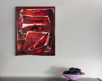 Original collage, unique, acrylic painting, abstract, fine art modern, graphic, red, brown, paper, expressive, graphic, decorative, wall art
