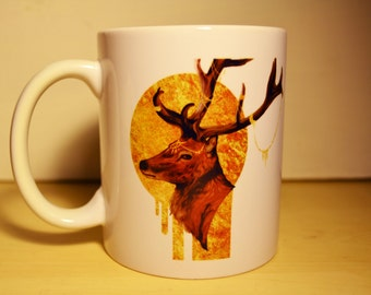 Forest Lord: elegant golden stag artwork,  double-sided print ceramic mug -perfect gift-unique-coffee-tea-deer-nature-illustration