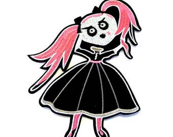 Emo Girl with Black Dress and Pink Hair with Black Bows Iron on Patch - H387