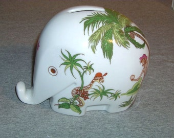 greetings from the tropical jungle  70s Luigi Colani porcelain Drumbo elephant moneybox + key