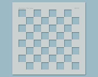 Stencil No. 6513 checkerboard-as background/base for textile design, wall design, canvas, decorations, wall