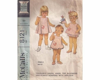 1960's McCall's 8121 Toddler Dress, Angel Top, Bloomers & Bubble Rompers Vintage Pattern