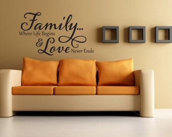 Family Where Life Begins and Love Never Ends Quote Vinyl Decal Home Decor Wall Hanging Wall Decal