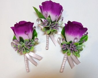 Set of 3 pc-Lilac/Lavender Shade Pin on Silk Flower Boutonniere-Silk Rose Bud Boutonniere-Wedding-Prom-Graduation-Special Event Boutonniere