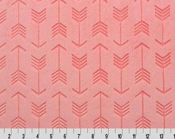 Shannon Minky Fabric, Shannon Cuddle Minky Fabric, Coral Arrow Cuddle Minky, Coral Embossed Arrow Minky, Arrow Fabric, Fabric By The Yard