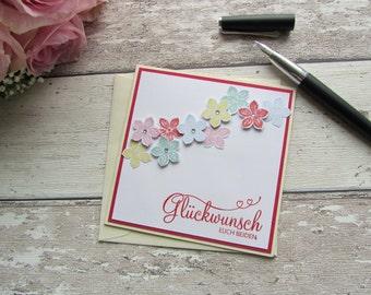Glückwunschkarte Hochzeitskarte mit Blümchen von Frollein KarLa