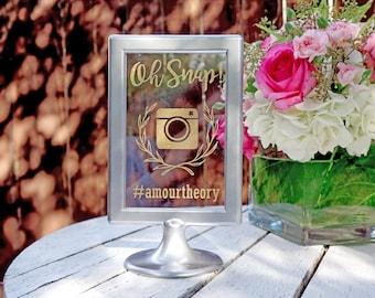 Custom Vintage Instagram Social Media Wedding Signage / Frame In Silver / Unique Hashtag