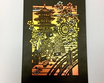 Japanese Papercut Art Postcard, made in Japan, bought in Japan, ONLY ONE
