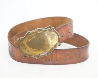 "Vintage 70s Brown Leather Tooled Forest Belt ""Mike""- Mens"