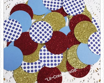 Gold, Red, Light Blue Polka Dots Blue Confetti