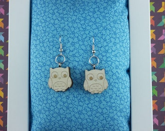 Owl wooden earrings - Lasercut